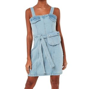 MISSGUIDED Belted Mini Denim Dress